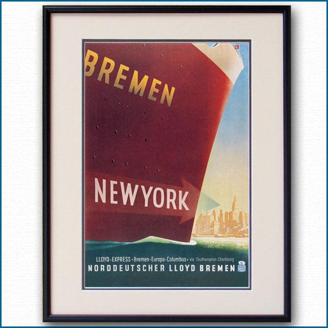 1937年 フリッツ・クック 客船ブレーメンのポスター 2292LL