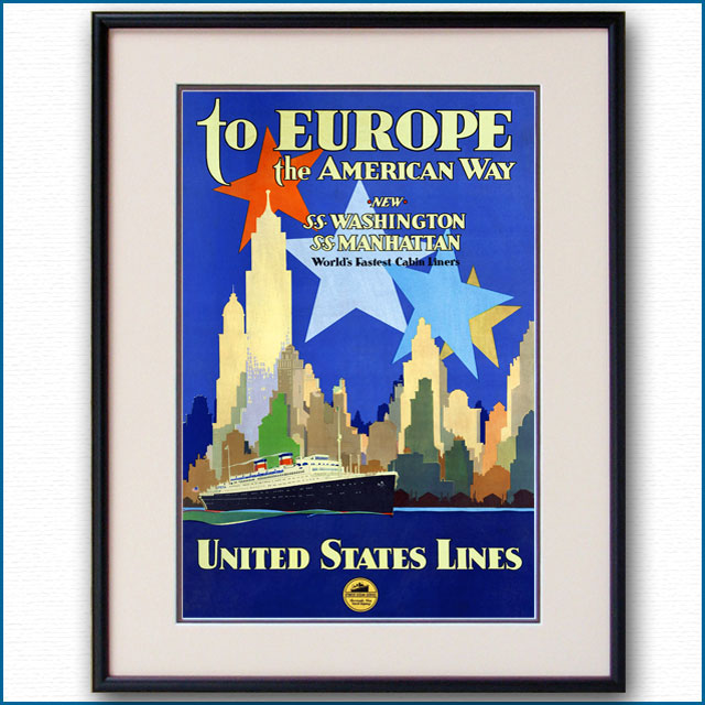 1932年 ユナイテッド・ステーツ・ライン 客船ワシントン・マンハッタンのポスター 2387LL