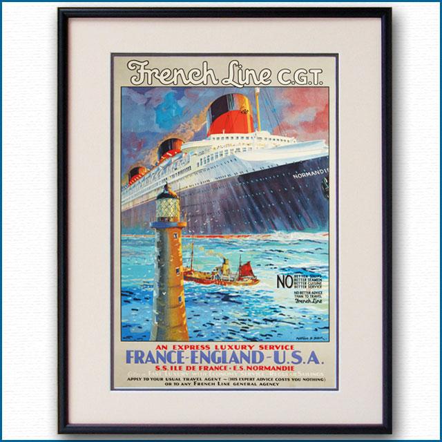 1936年 モンタギュー・B・ブラック 客船ノルマンディーのポスター 2396LL