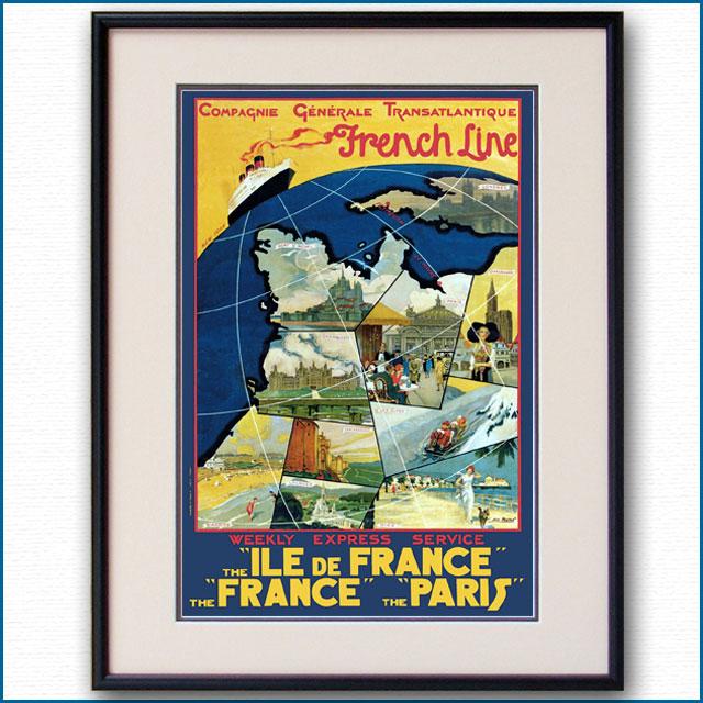 1929年 フレンチラインのポスター 2419LL
