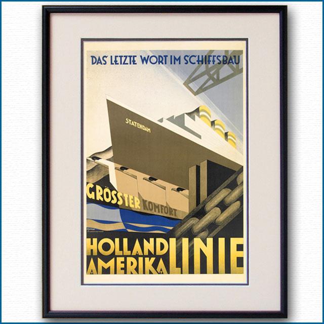 1928年 ホーランドアメリカライン 客船スタテンダムのポスター 2451LL