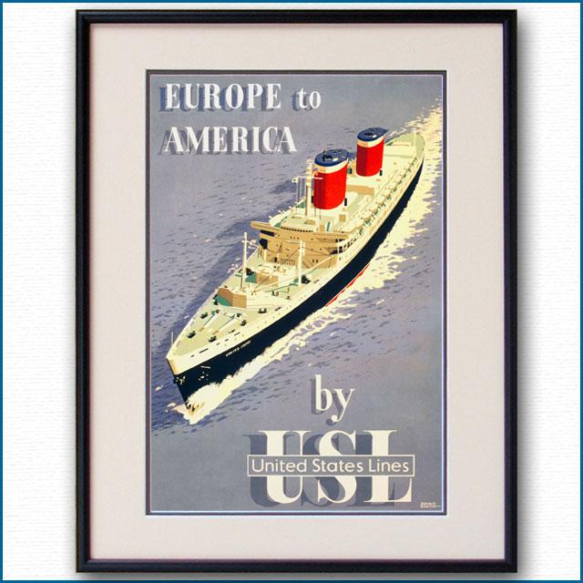 1952年 USL 客船ユナイテッドステーツのポスター 2464LL