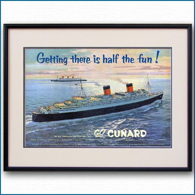 1954年 キュナード・客船クイーンエリザベス見開き雑誌広告 2582LL