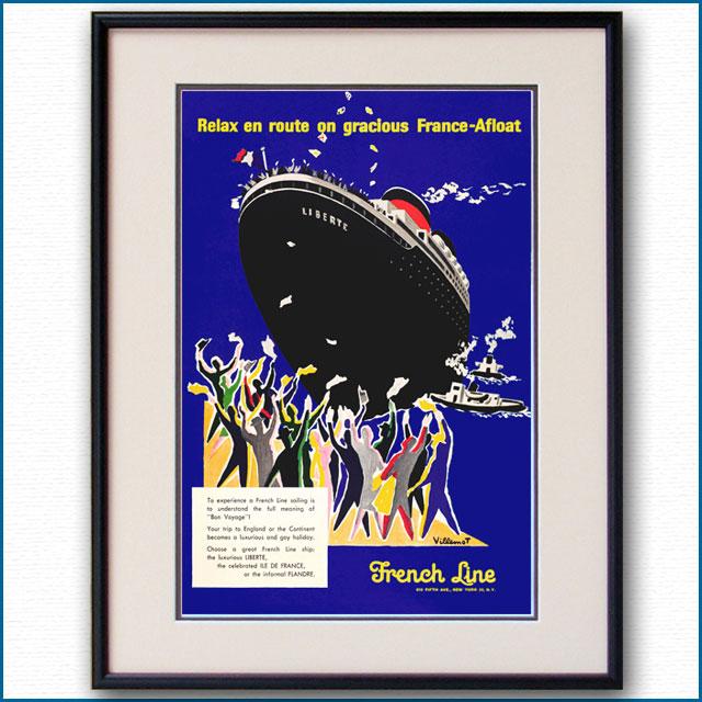 1956年 ベルナール・ヴィユモ 客船リベルテのポスター 2583LL
