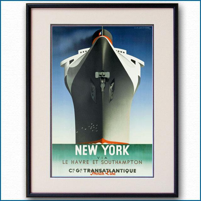 1935年 カッサンドル 客船ノルマンディー NEW YORK版 2591LL