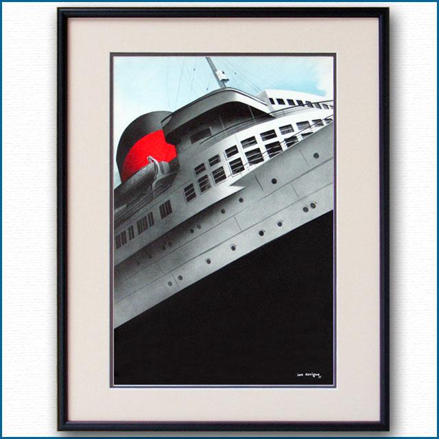 1937年 ジャン・オヴィニュ 客船ノルマンディー・ブローシャー扉イラスト 2593LL
