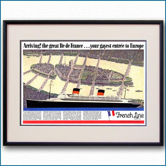 1949年 客船イルドフランス・再就役見開き雑誌広告 2601LL