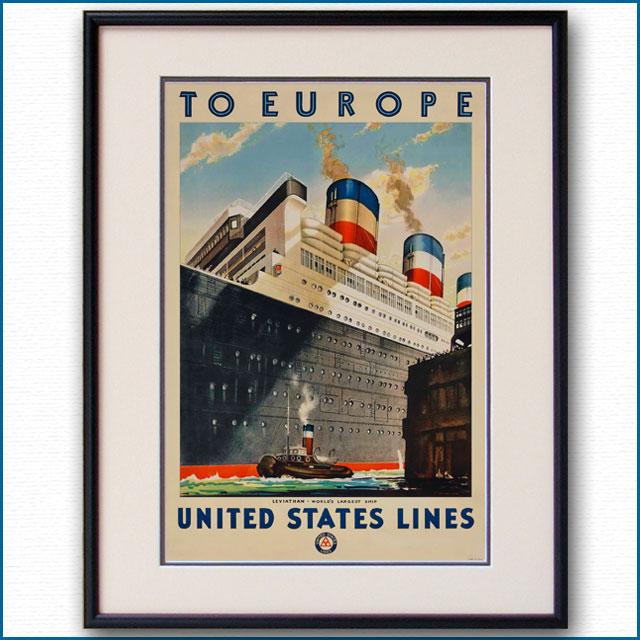 1928年 客船リバイアサンのポスター 2611LL