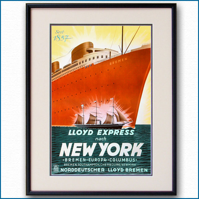1937年 北ドイツロイド 客船ブレーメンのポスター 2646LL