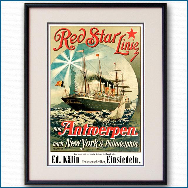 1893年 レッドスターライン 客船ウェスタンランドのポスター 2872LL