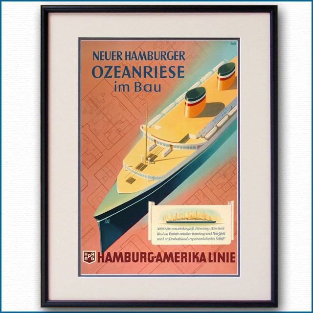 1926年 ハンブルク・アメリカライン 客船ハンブルクのポスター 3039LL