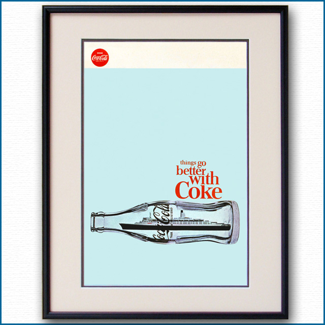 1970年 客船クイーンエリザベス2・コカコーラ雑誌広告 3083LL
