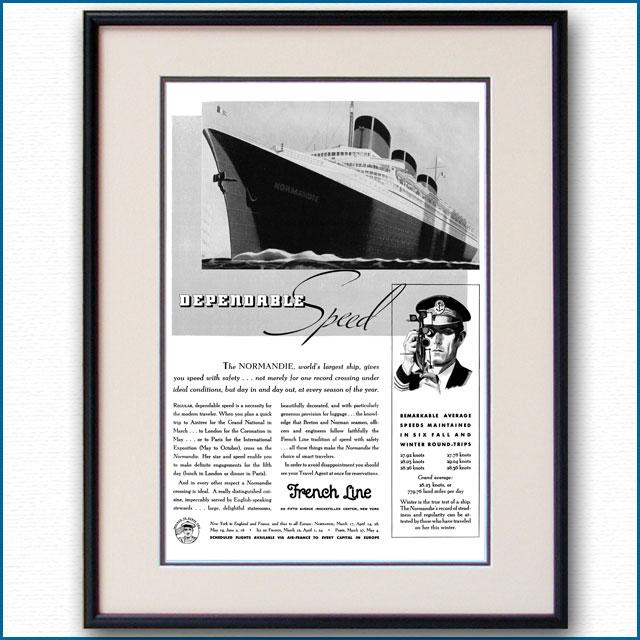 1937年 客船ノルマンディー雑誌広告 3110LL