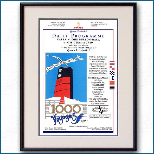 1995年 客船クイーンエリザベス2・1000航海記念船内プログラム 3111LL