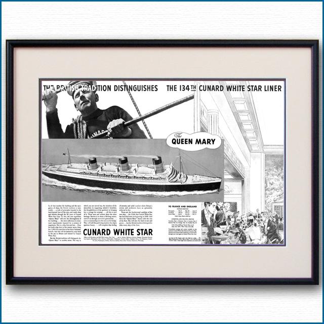 1936年 客船クイーンメリー・就役見開き雑誌広告 3153LL