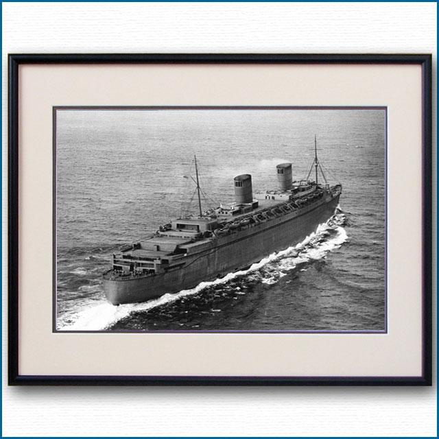 1940年 客船クイーンエリザベス・緊急回航の空撮写真 3241LL