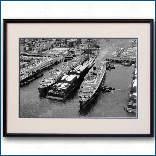 1948年 客船クイーンメリーとクイーンエリザベスの写真 3255LL