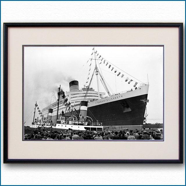 1946年 客船クイーンエリザベス 処女航海出航の写真 3279LL