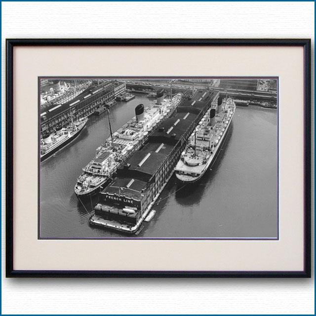 1950年 客船リベルテとイル・ド・フランスの写真 3332LL