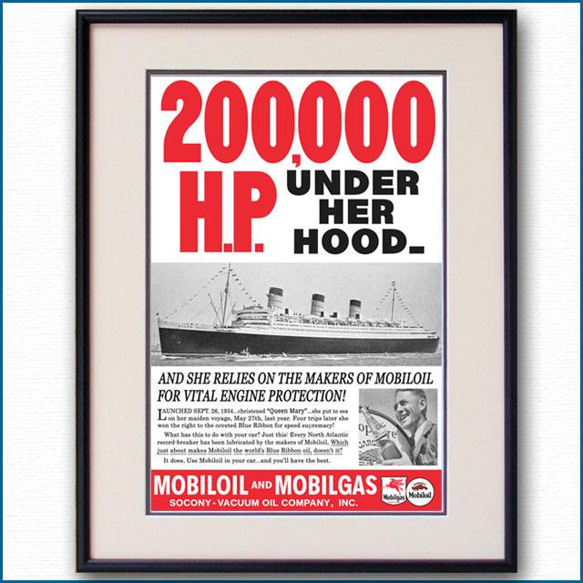1936年 客船クイーンメリー・モービル石油雑誌広告 3338LL