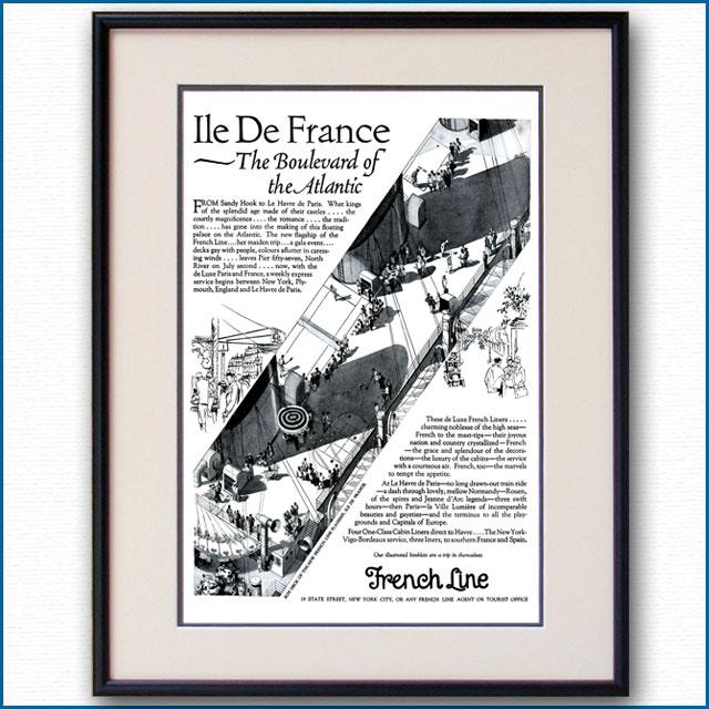 1927年 客船イル・ド・フランス処女航海復航の雑誌広告 3340LL