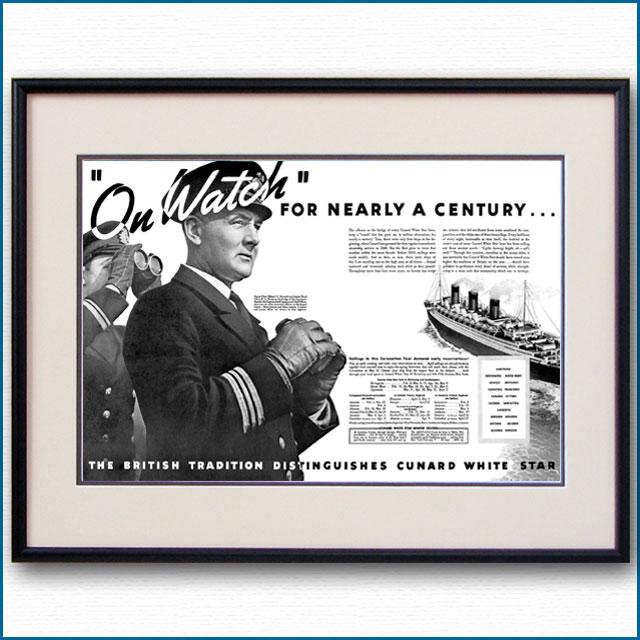1937年 キュナードホワイトスター見開き雑誌広告 3349LL
