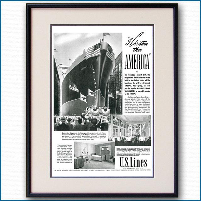 1939年 客船アメリカ・進水命名 雑誌広告 3350LL