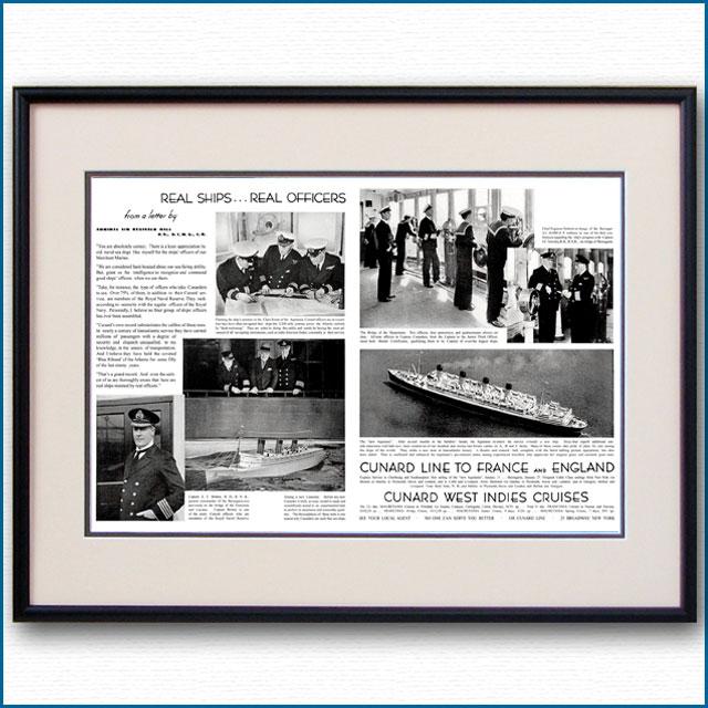 1933年 キュナード・客船クイーンメリー・タンクテスト見開き雑誌広告 3351LL