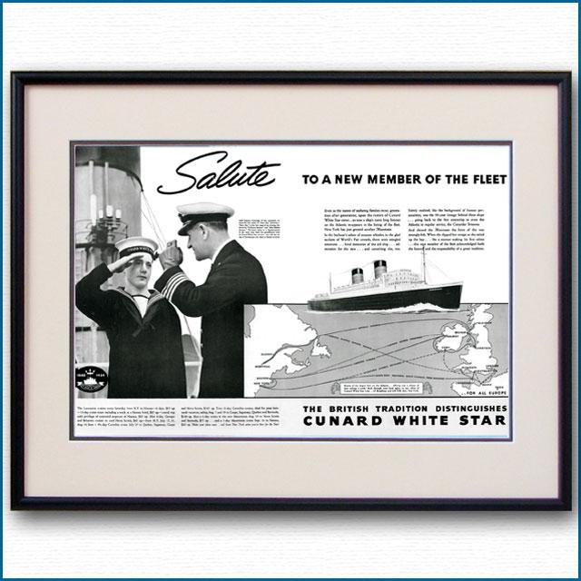 1939年 キュナードホワイトスター見開き雑誌広告 3354LL