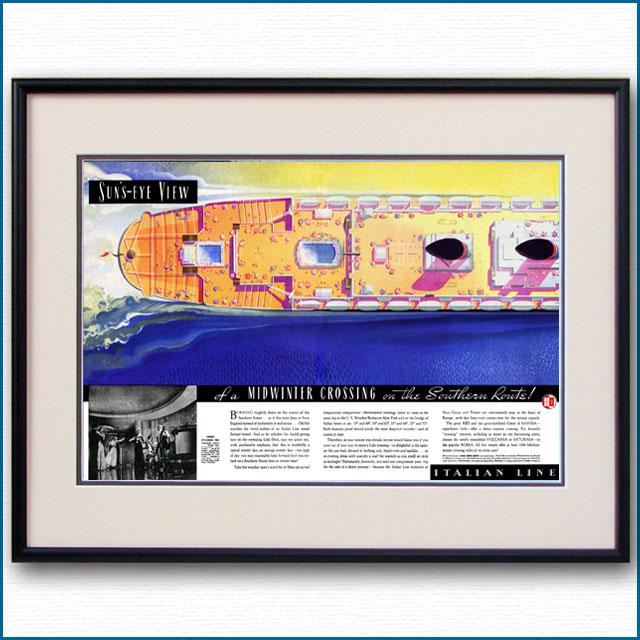 1937年 イタリアンライン・客船レックス見開き雑誌広告 3361LL
