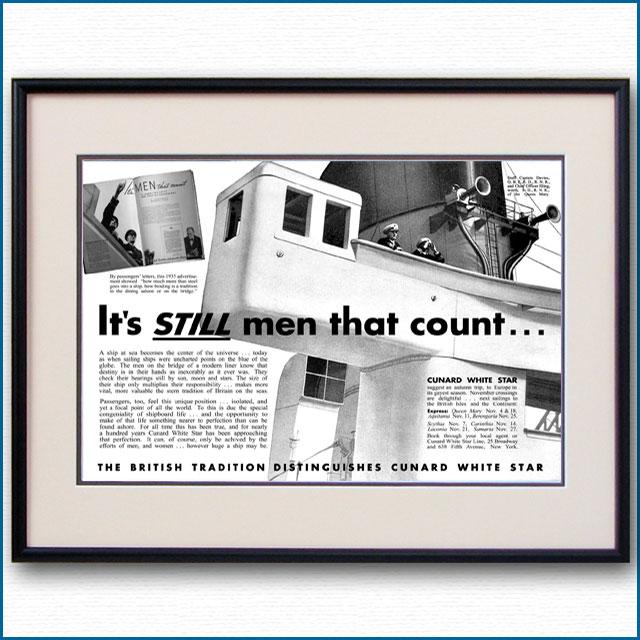 1936年 キュナードホワイトスター・客船クイーンメリー見開き雑誌広告 3369LL