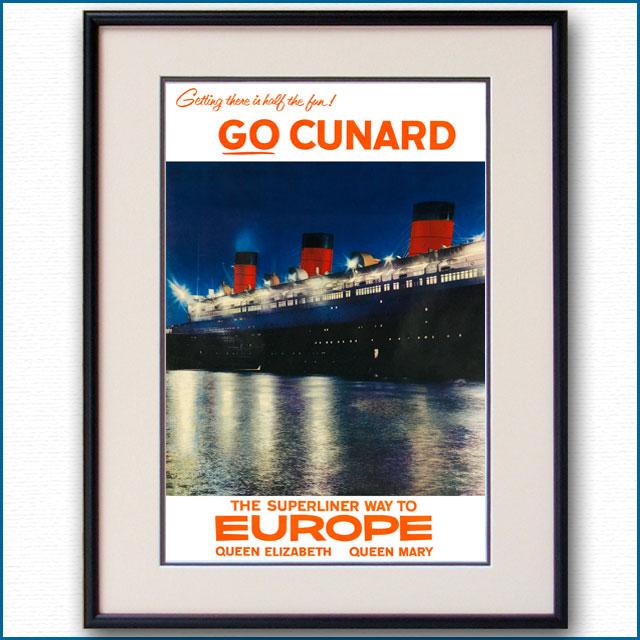 1954年 キュナード 客船クイーンメリーのポスター 3380LL