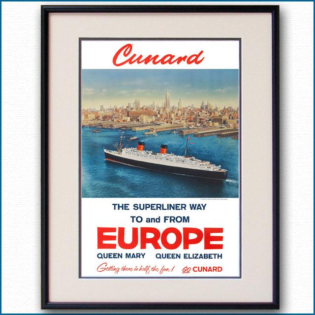 1954年 キュナード 客船クイーンエリザベスのポスター 3381LL