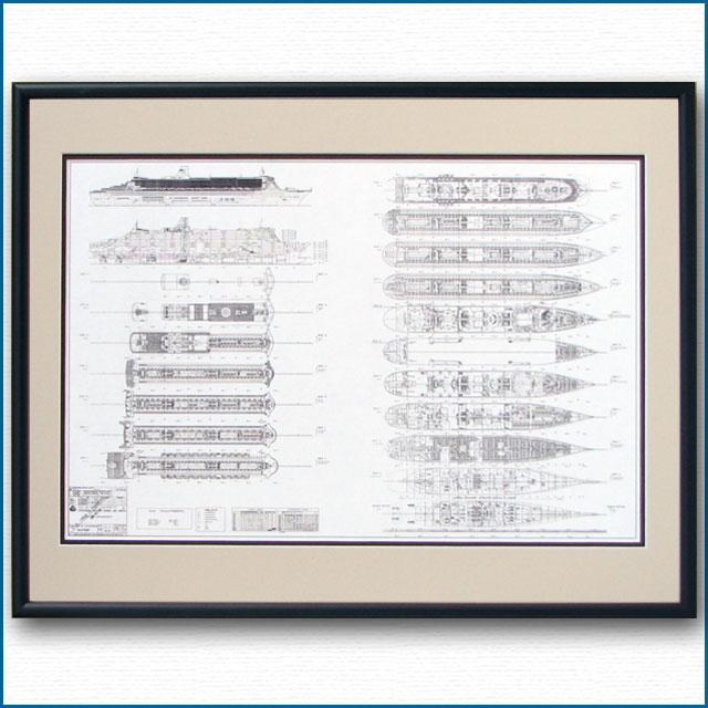 客船クイーンメリー2の一般配置図、額入りアートポスター 2476XL