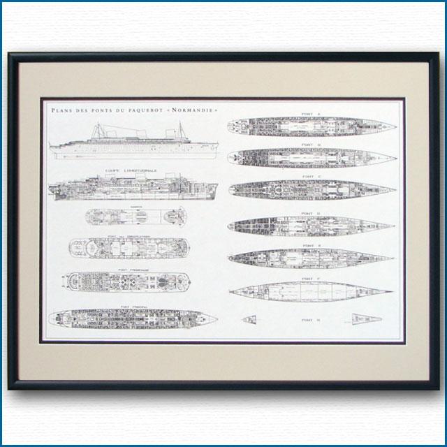 客船ノルマンディーの一般配置図、額入りアートポスター 2478XL