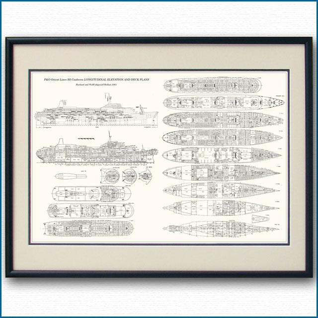 客船キャンベラの一般配置図、額入りアートポスター 2699XL