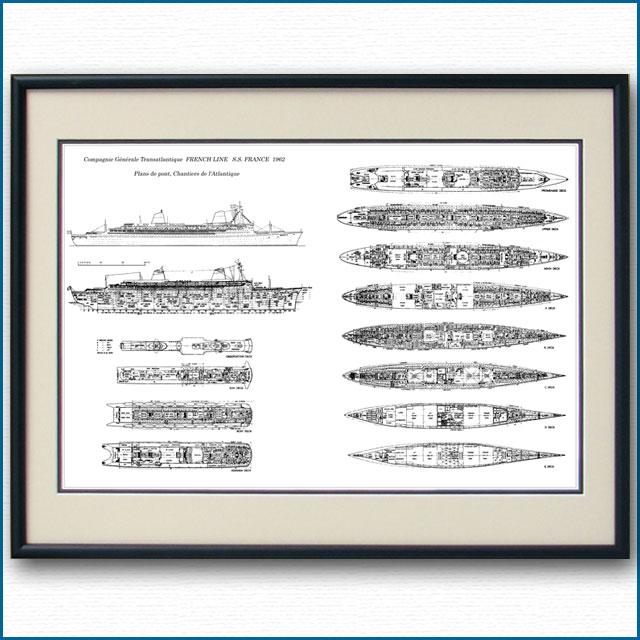 客船フランスの一般配置図、額入りアートポスター 2700XL