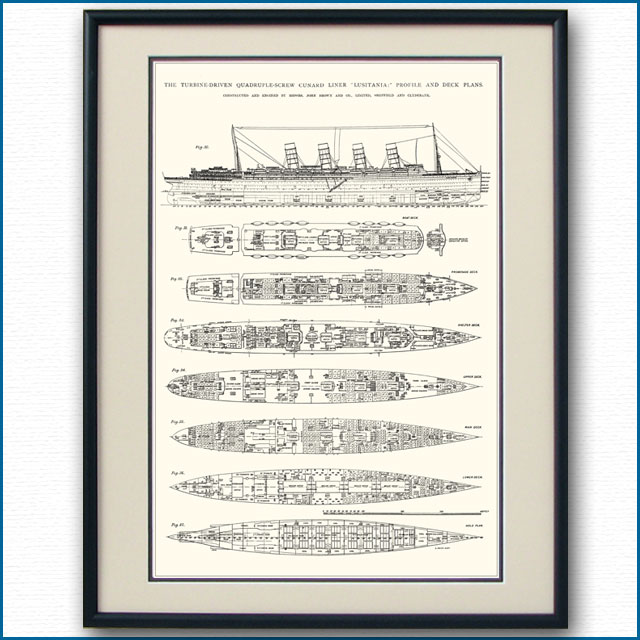 客船ルシタニアの一般配置図、額入りアートポスター 2701XL