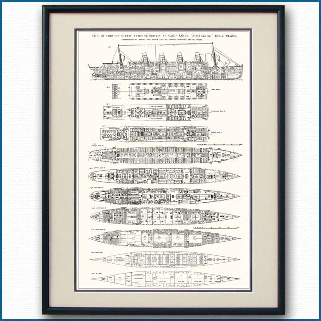 客船アキタニアの一般配置図、額入りアートポスター 2702XL