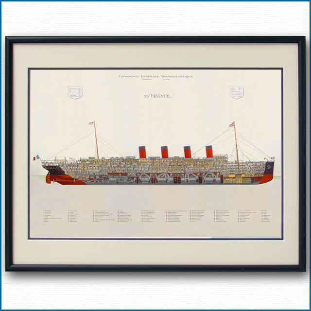 客船フランス(1912)の断面図 2706XL