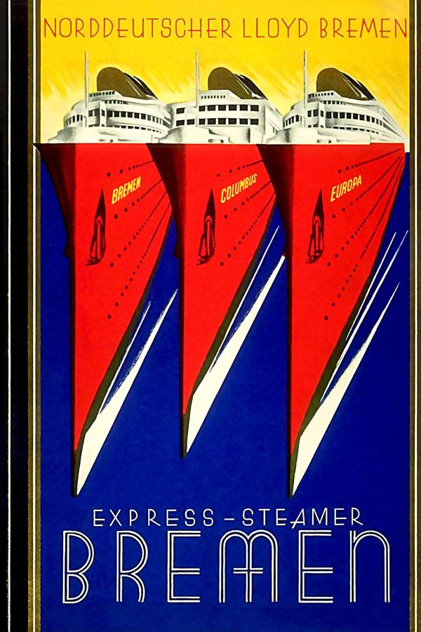 客船ブレーメンpostcard:四方海話:ポスター販売・Ocean-Note