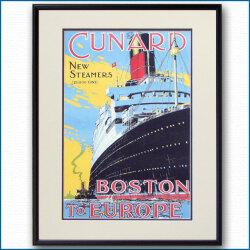 キュナードの客船ポスター CUNARD BOSTON TO EUROPE:四方海話:ポスター販売・Ocean-Note